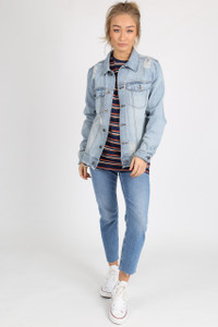 Light Blue Distressed Cotton Denim Jacket