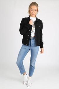 Black Wash Cotton Denim Jacket
