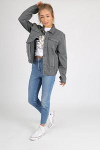 Grey Wash Cotton Denim Jacket