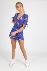 Blue Floral Self Tie Detail Playsuit