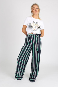 Navy Stripe Self Tie Wide Leg Pants