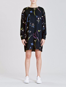 Navy Floral Printed Wide Sleeve Dress