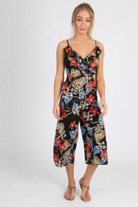 Black Floral Ruffle Front Cropped Leg Jumpsuit