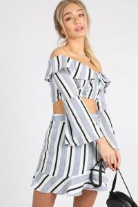 Blue Stripe Ruffle Wrap Mini Skirt