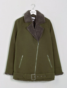 Olive Biker Sherpa Jacket