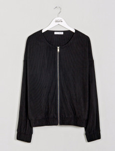Black Collarless Bomber Jacket