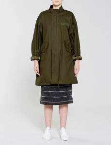 Olive Unisex Collarless Parka Jacket
