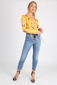 Yellow Floral Ruffle Frill Body