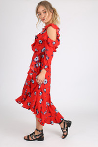 Red Floral Cold Shoulder Ruffle Wrap Dress