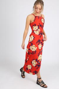 Red Floral Ladder Detail Wrap Maxi Dress