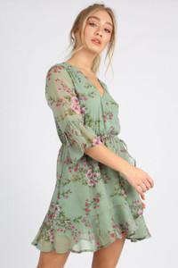 Green Chiffon Floral Print Mini Dress