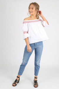 White Contrast Stitch Puff Sleeve Bardot