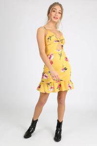Yellow Floral Twist Front Mini Dress