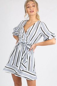 Blue Stripe Ruffle Detail Mini Dress