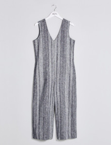 Grey Striped Wide Leg Jumpsuit