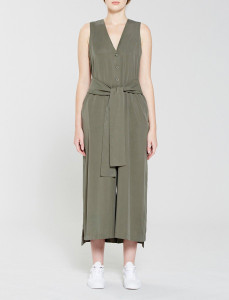Olive Button Through Tie Waist Jumpsuit
