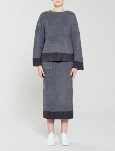Grey Meridian Knit With Side Splits