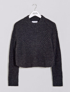 Navy Neoma Knit Ribbed Crew