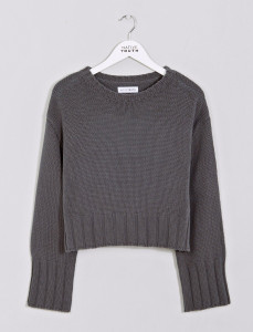 Olive Cropped Knit With Oversized Rib
