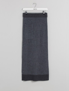 Grey Knitted Rib Tube Skirt W/Pocket