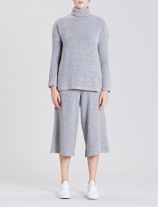 Grey Roll Neck Side Split Tunic