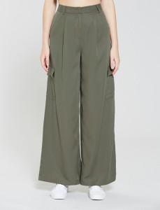 Olive Premium Wide Leg Tencel Cargo Pants