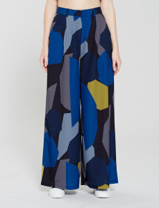 Blue Printed Wide Leg Pants
