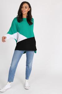 Green Geometric Colour Block Batwing Top