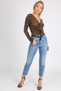 Leopard Print Knot Front Bodysuit