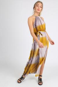 Mustard Tie Dye Cheesecloth Double Split Maxi Dress