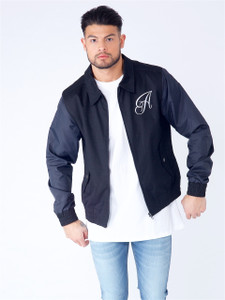 Black Embroidered Zip Up Bomber Jacket