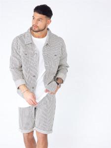 Black White Striped Cotton Denim Jacket