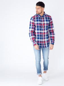 Blue Checked Pattern Long Sleeve Shirt
