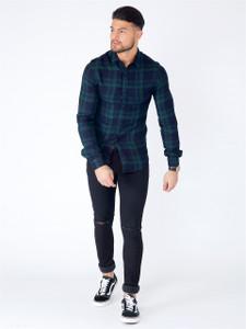 Green Long Sleeve Viscose Check Shirt