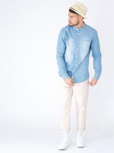 Blue Denim Grandad Collar Shirt