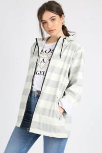 Grey Stripe Festival Rain Mac Jacket