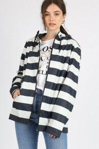 Navy Stripe Festival Rain Mac Jacket