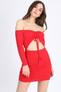 Red Bardot Cut-Out Mini Dress