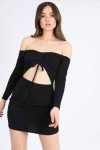 Black Bardot Cut-Out Mini Dress