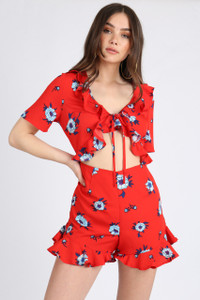 Red Floral Cut Away Tie Front Playsuit