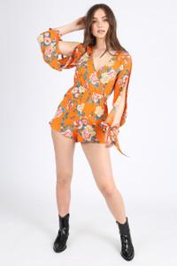 Orange Floral Self Tie Sleeve Playsuit