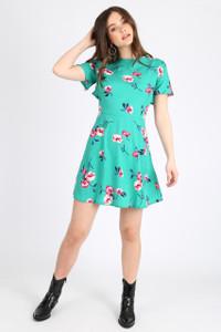 Green Floral Ruffle Back Mini Dress