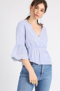 Blue Stripe Schiffli Hem Sleeve Wrap Top