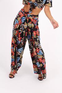 Black Floral Print Front Split Trousers