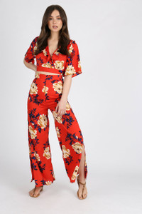 Red Floral Ruffle Wrap Crop Top