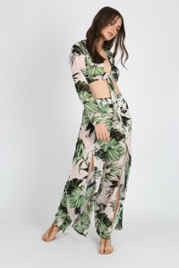 Green Tropical Print Front Split Trousers