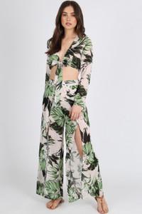 Tropical Green Print Tie Front Crop
