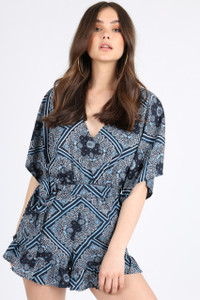 Navy Scarf Print Batwing Wrap Playsuit