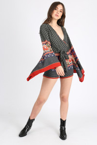 Multi Scarf Print Kimono Sleeve Playsuit
