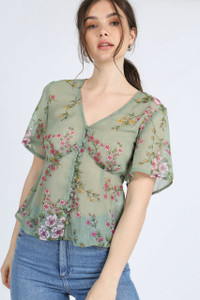Green Floral Print Button Down Sheer Blouse